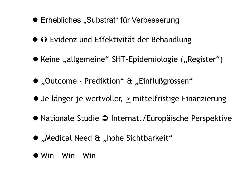 """Erhebliches """"Substrat für Verbesserung  Evidenz und Effektivität der Behandlung Keine """"allgemeine SHT-Epidemiologie (""""Register ) Win - Win - Win Nationale Studie  Internat./Europäische Perspektive """"Medical Need & """"hohe Sichtbarkeit """"Outcome - Prediktion & """"Einflußgrössen Je länger je wertvoller, > mittelfristige Finanzierung"""