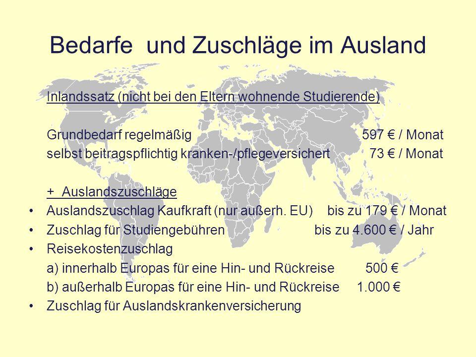 Bedarfe und Zuschläge im Ausland Inlandssatz (nicht bei den Eltern wohnende Studierende) Grundbedarf regelmäßig 597 € / Monat selbst beitragspflichtig