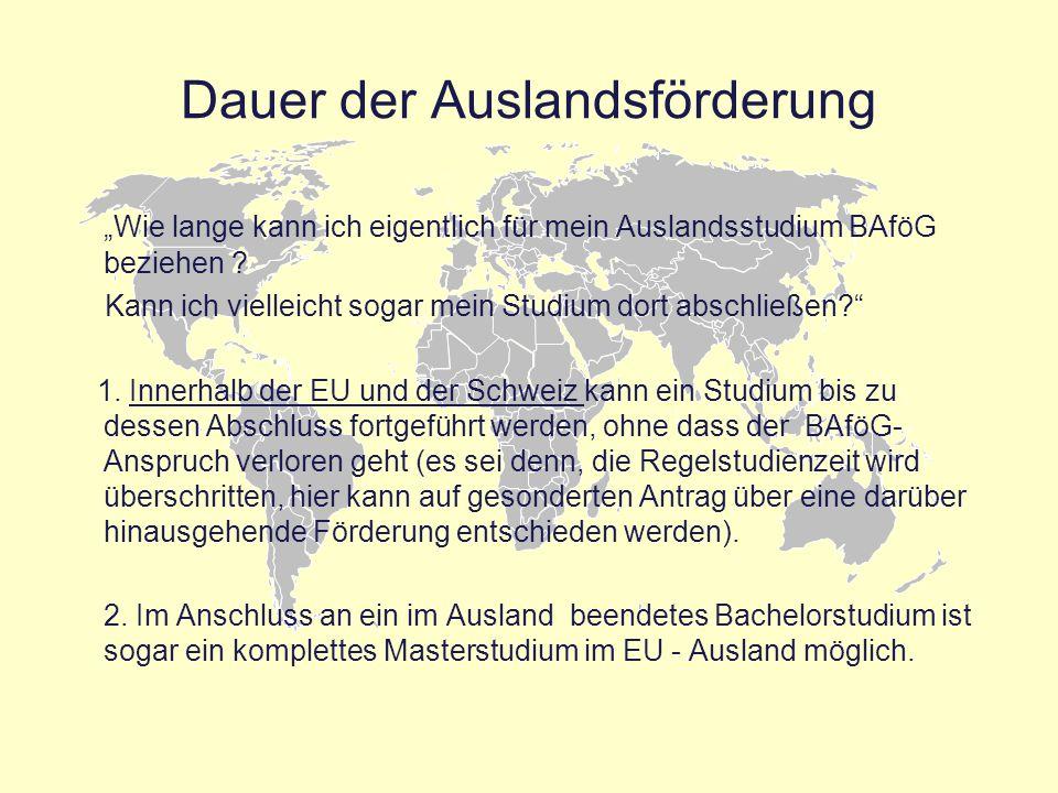 """Dauer der Auslandsförderung """"Wie lange kann ich eigentlich für mein Auslandsstudium BAföG beziehen ? Kann ich vielleicht sogar mein Studium dort absch"""
