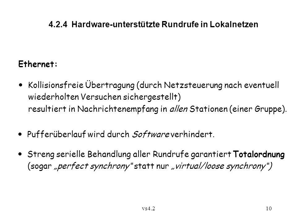 vs4.210 4.2.4 Hardware-unterstützte Rundrufe in Lokalnetzen Ethernet: Kollisionsfreie Übertragung (durch Netzsteuerung nach eventuell wiederholten Versuchen sichergestellt) resultiert in Nachrichtenempfang in allen Stationen (einer Gruppe).