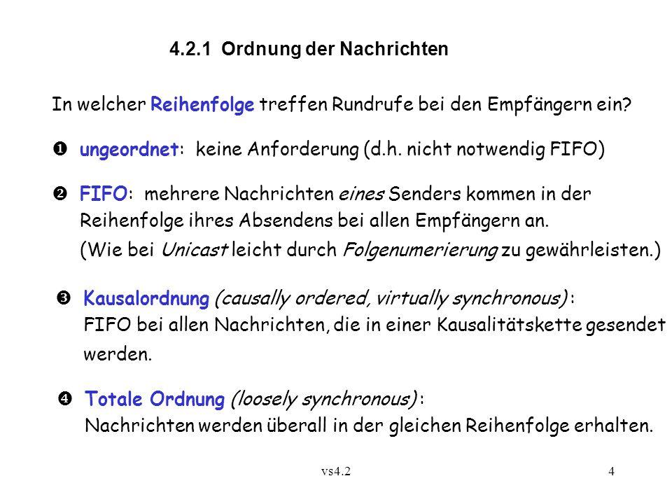 vs4.24 4.2.1 Ordnung der Nachrichten In welcher Reihenfolge treffen Rundrufe bei den Empfängern ein?  ungeordnet: keine Anforderung (d.h. nicht notwe
