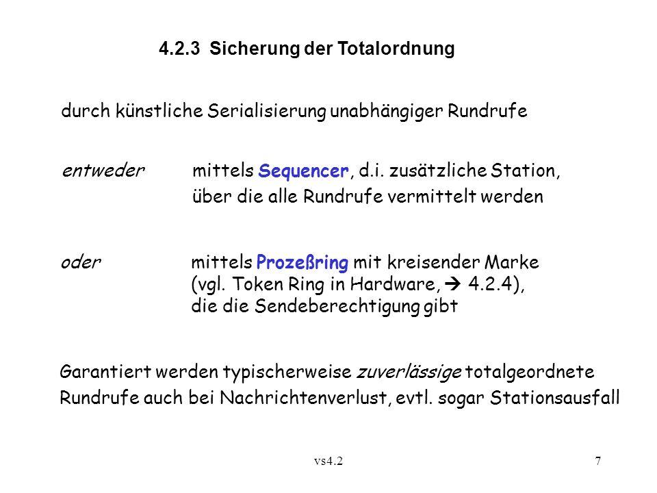 vs4.28 Struktur des Sequencer-Protokolls:  p: send m to G veranlaßt Senden von (m,G) an Sequencer s (unzuverlässiger Unicast)  s schickt m an alle Mitglieder von G (unzuverlässiger Multicast)  Die send -Anweisung ist erst dann abgeschlossen, wenn bei der ausführenden Station die Nachricht m von s zurückkommt.