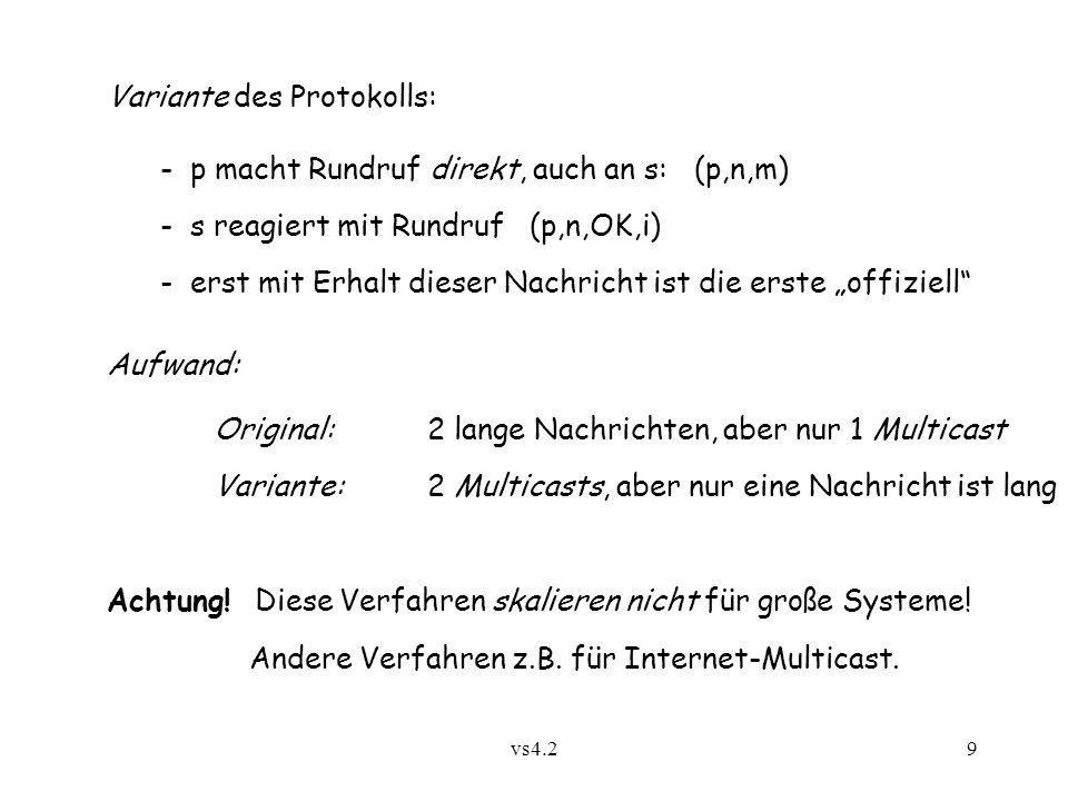 vs4.29 Variante des Protokolls: - p macht Rundruf direkt, auch an s: (p,n,m) - s reagiert mit Rundruf (p,n,OK,i) - erst mit Erhalt dieser Nachricht is