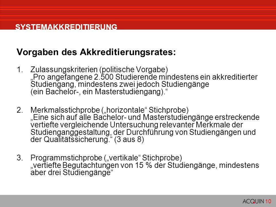 """10 SYSTEMAKKREDITIERUNG Vorgaben des Akkreditierungsrates: 1.Zulassungskriterien (politische Vorgabe) """"Pro angefangene 2.500 Studierende mindestens ei"""