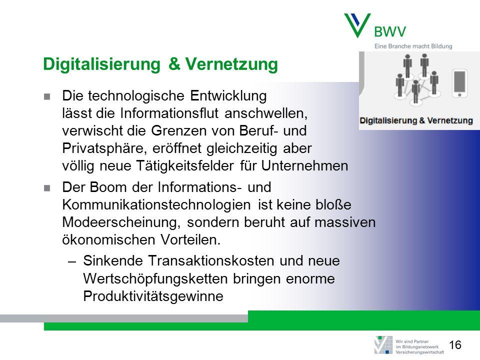 Digitalisierung & Vernetzung Die technologische Entwicklung lässt die Informationsflut anschwellen, verwischt die Grenzen von Beruf- und Privatsphäre,