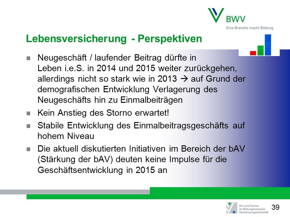 Lebensversicherung - Perspektiven Neugeschäft / laufender Beitrag dürfte in Leben i.e.S. in 2014 und 2015 weiter zurückgehen, allerdings nicht so star