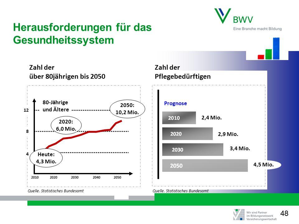 2010 Zahl der Pflegebedürftigen Zahl der über 80jährigen bis 2050 2020203020402050 2020: 6,0 Mio.