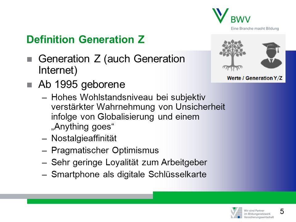 """Definition Generation Z Generation Z (auch Generation Internet) Ab 1995 geborene –Hohes Wohlstandsniveau bei subjektiv verstärkter Wahrnehmung von Unsicherheit infolge von Globalisierung und einem """"Anything goes –Nostalgieaffinität –Pragmatischer Optimismus –Sehr geringe Loyalität zum Arbeitgeber –Smartphone als digitale Schlüsselkarte Z 5"""