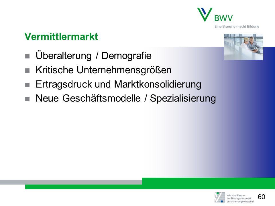 Vermittlermarkt Überalterung / Demografie Kritische Unternehmensgrößen Ertragsdruck und Marktkonsolidierung Neue Geschäftsmodelle / Spezialisierung 60