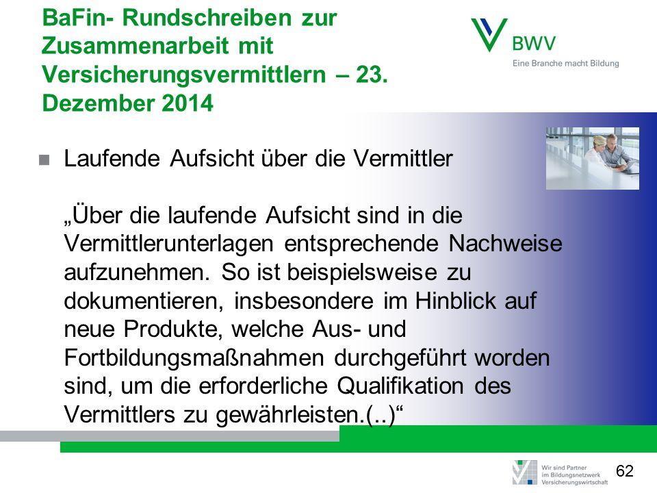 BaFin- Rundschreiben zur Zusammenarbeit mit Versicherungsvermittlern – 23.