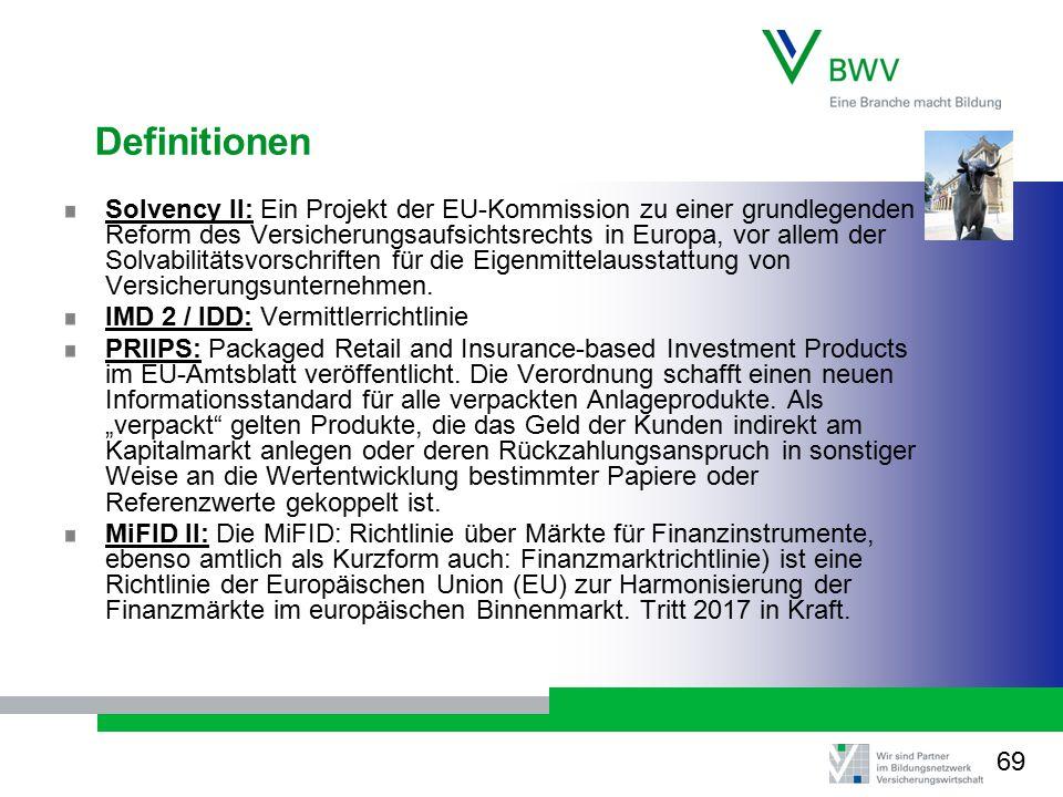 Definitionen Solvency II: Ein Projekt der EU-Kommission zu einer grundlegenden Reform des Versicherungsaufsichtsrechts in Europa, vor allem der Solvabilitätsvorschriften für die Eigenmittelausstattung von Versicherungsunternehmen.