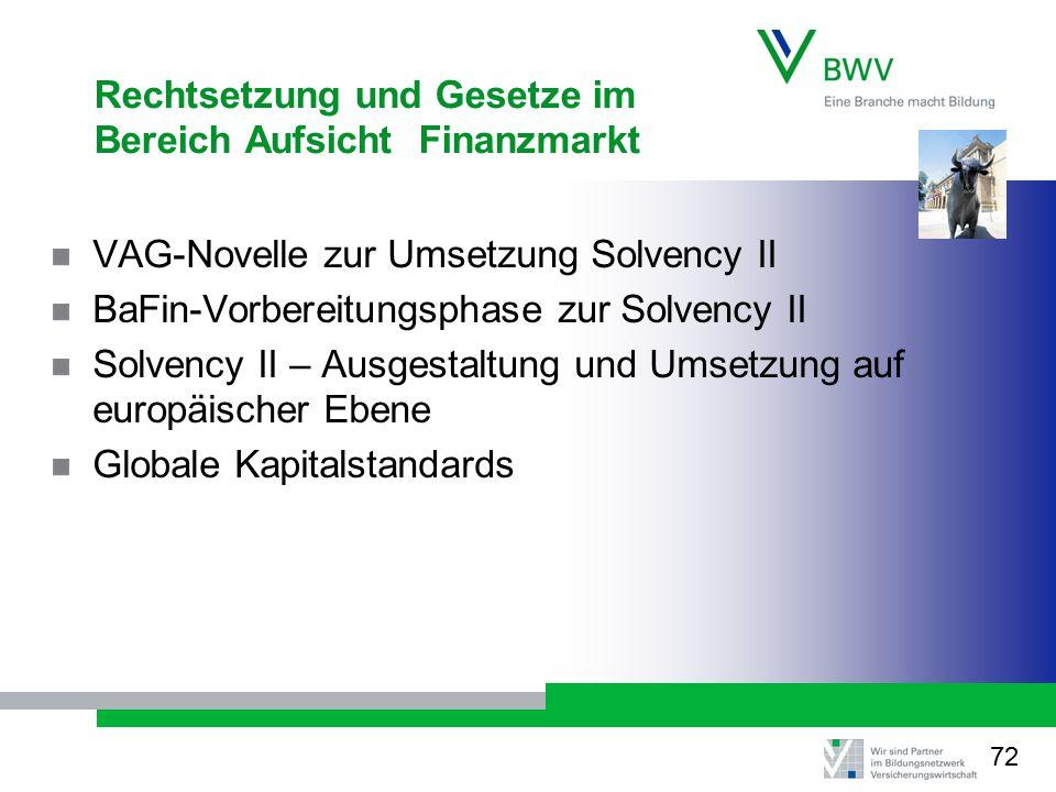 Rechtsetzung und Gesetze im Bereich Aufsicht Finanzmarkt VAG-Novelle zur Umsetzung Solvency II BaFin-Vorbereitungsphase zur Solvency II Solvency II – Ausgestaltung und Umsetzung auf europäischer Ebene Globale Kapitalstandards 72