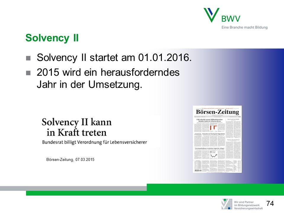Solvency II Solvency II startet am 01.01.2016. 2015 wird ein herausforderndes Jahr in der Umsetzung. Börsen-Zeitung, 07.03.2015 74