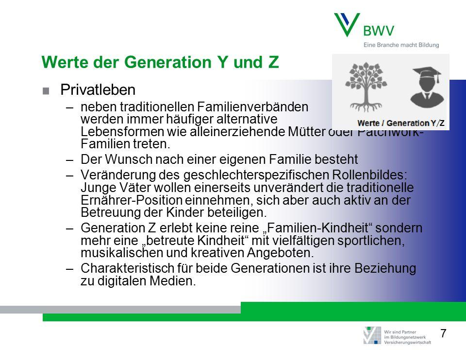 Werte der Generation Y und Z Privatleben –neben traditionellen Familienverbänden werden immer häufiger alternative Lebensformen wie alleinerziehende Mütter oder Patchwork- Familien treten.