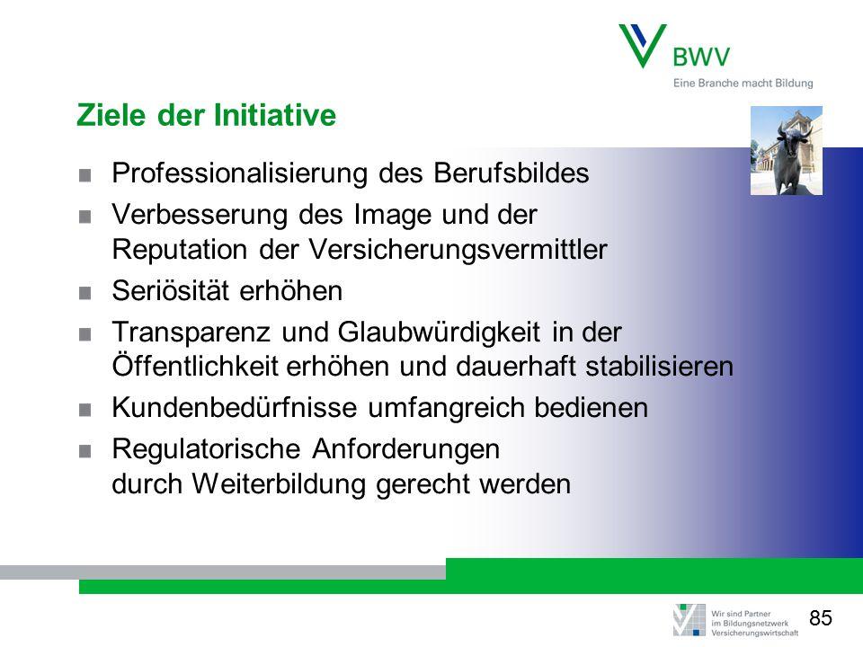 Ziele der Initiative Professionalisierung des Berufsbildes Verbesserung des Image und der Reputation der Versicherungsvermittler Seriösität erhöhen Tr