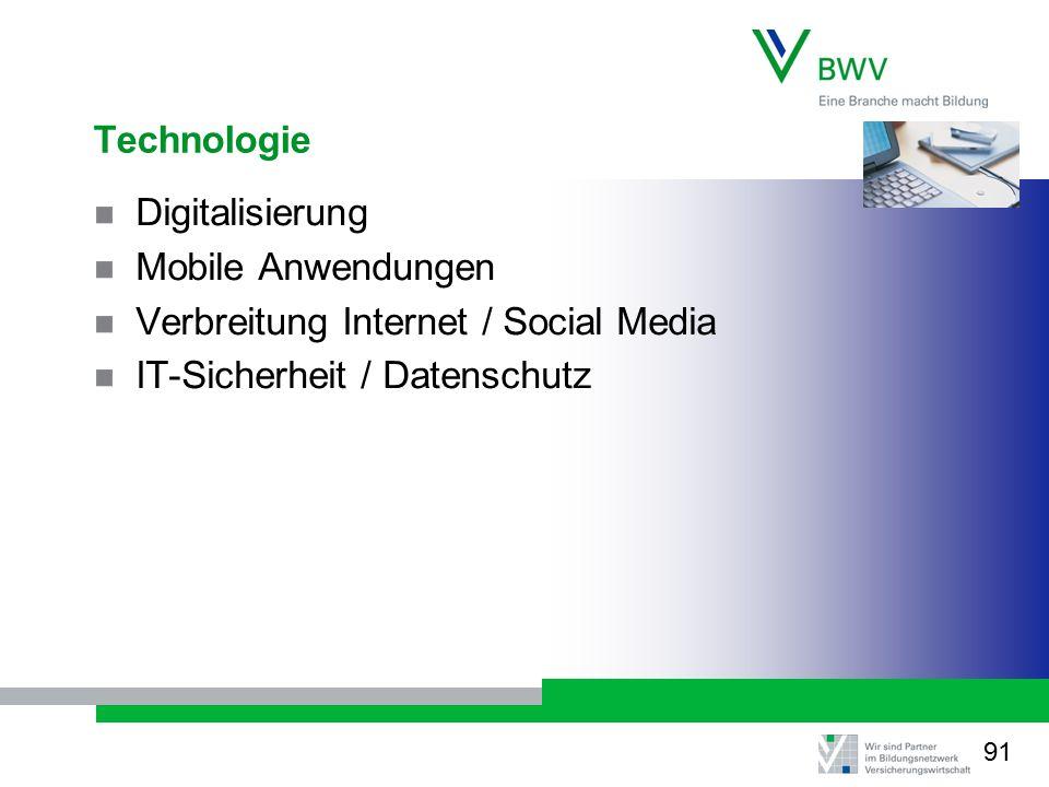 Technologie Digitalisierung Mobile Anwendungen Verbreitung Internet / Social Media IT-Sicherheit / Datenschutz 91