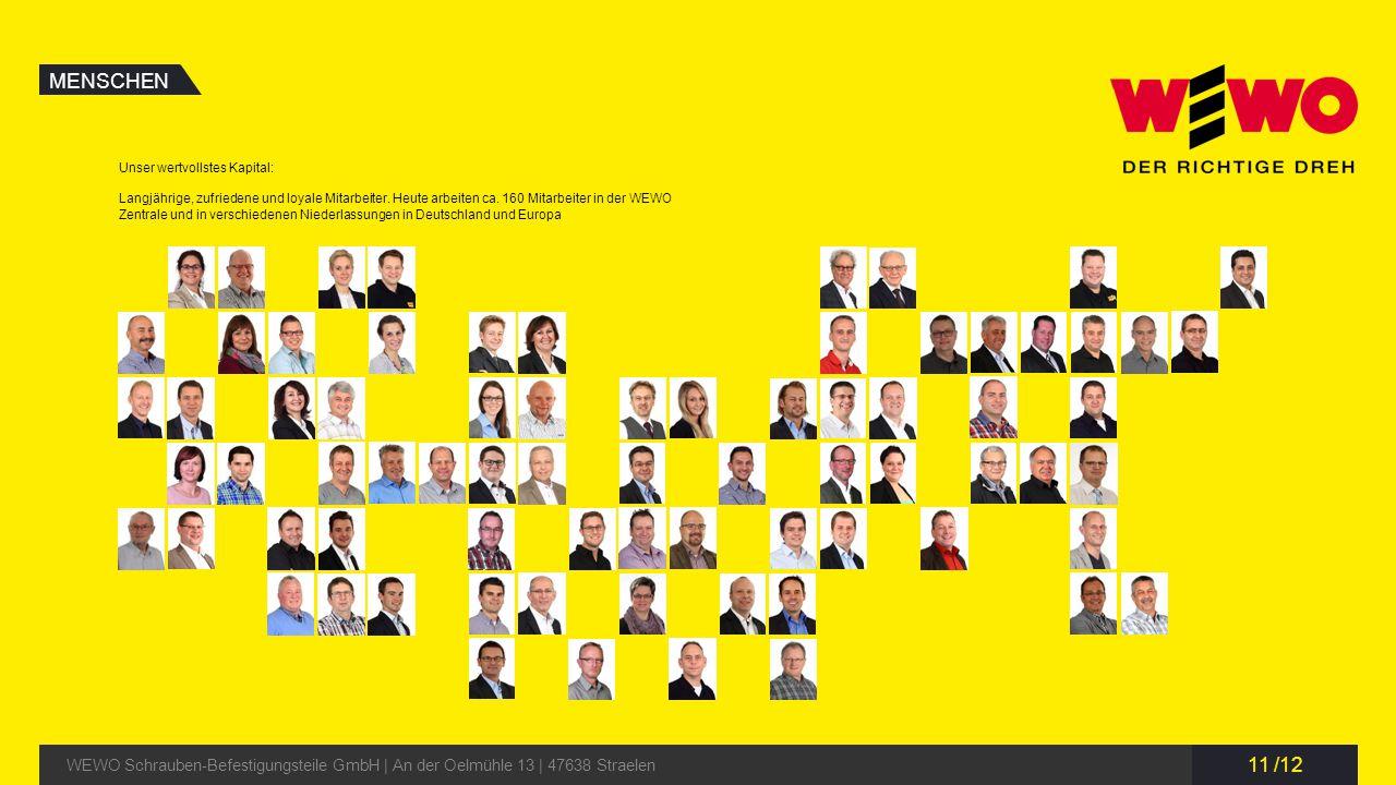 11 /12 MENSCHEN WEWO Schrauben-Befestigungsteile GmbH | An der Oelmühle 13 | 47638 Straelen Unser wertvollstes Kapital: Langjährige, zufriedene und lo