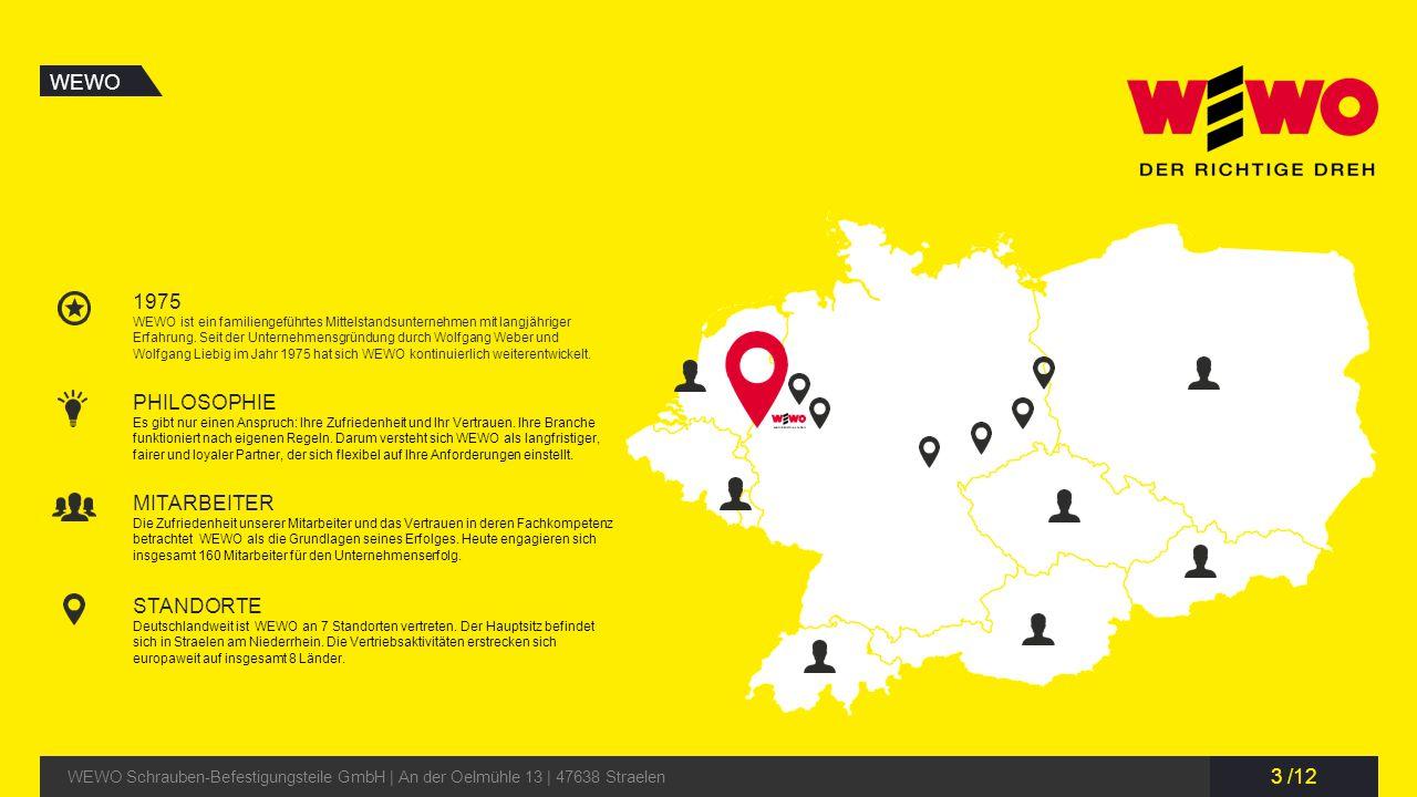 3 /12 WEWO WEWO Schrauben-Befestigungsteile GmbH | An der Oelmühle 13 | 47638 Straelen 1975 WEWO ist ein familiengeführtes Mittelstandsunternehmen mit