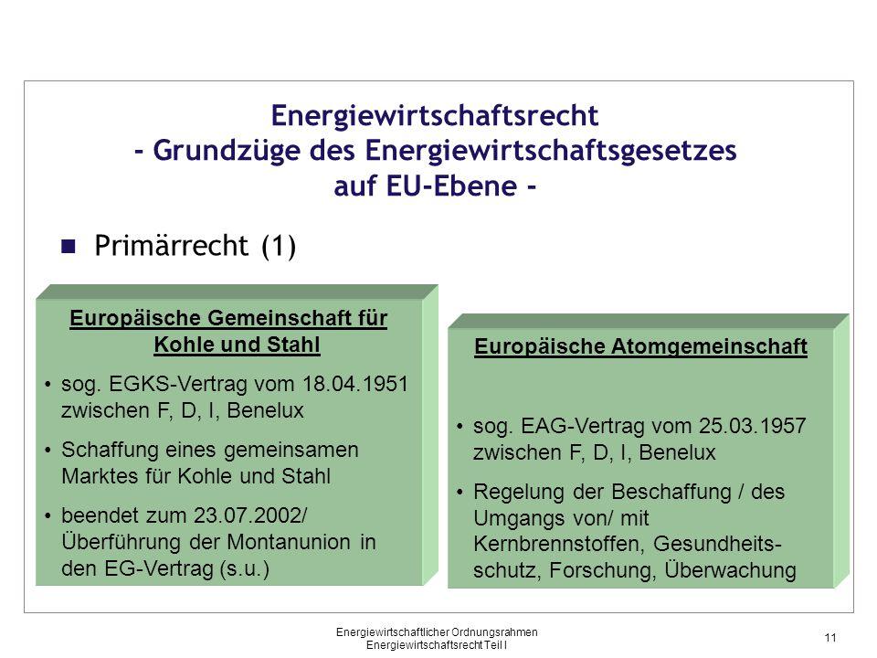 Energiewirtschaftlicher Ordnungsrahmen Energiewirtschaftsrecht Teil I Primärrecht (1) Energiewirtschaftsrecht - Grundzüge des Energiewirtschaftsgesetz