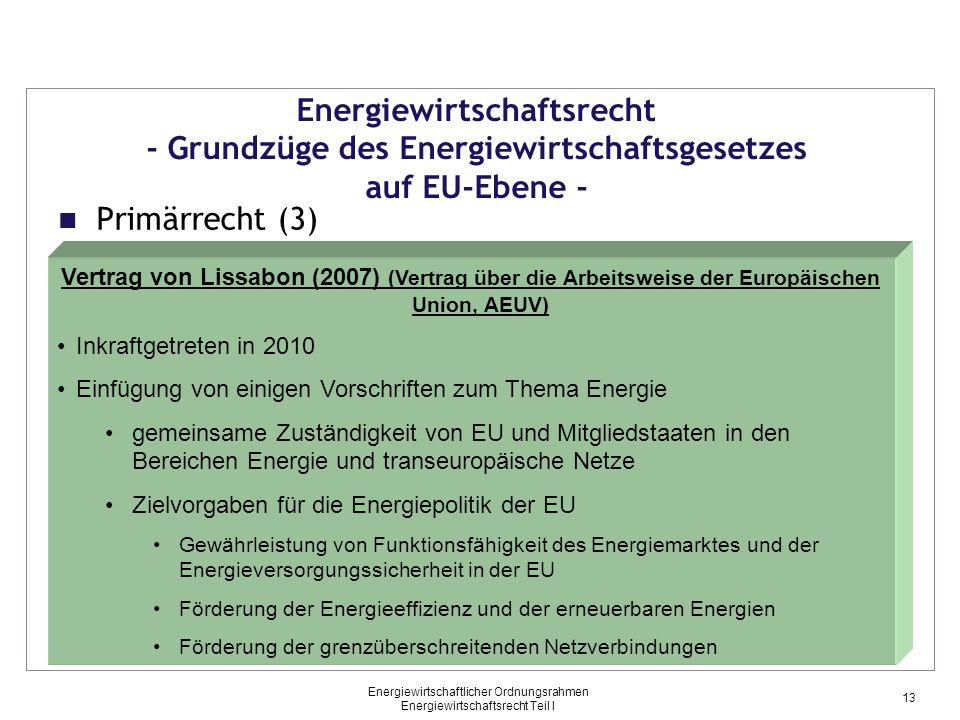 Energiewirtschaftlicher Ordnungsrahmen Energiewirtschaftsrecht Teil I Primärrecht (3) Energiewirtschaftsrecht - Grundzüge des Energiewirtschaftsgesetz