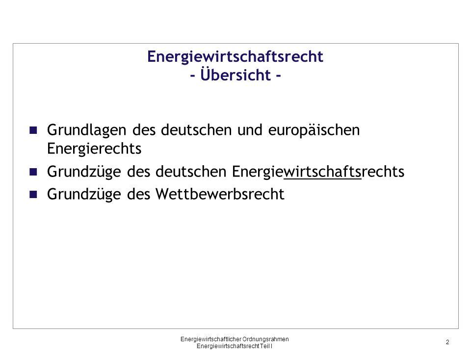 Energiewirtschaftlicher Ordnungsrahmen Energiewirtschaftsrecht Teil I Primärrecht (3) Energiewirtschaftsrecht - Grundzüge des Energiewirtschaftsgesetzes auf EU-Ebene - Vertrag von Lissabon (2007) (Vertrag über die Arbeitsweise der Europäischen Union, AEUV) Inkraftgetreten in 2010 Einfügung von einigen Vorschriften zum Thema Energie gemeinsame Zuständigkeit von EU und Mitgliedstaaten in den Bereichen Energie und transeuropäische Netze Zielvorgaben für die Energiepolitik der EU Gewährleistung von Funktionsfähigkeit des Energiemarktes und der Energieversorgungssicherheit in der EU Förderung der Energieeffizienz und der erneuerbaren Energien Förderung der grenzüberschreitenden Netzverbindungen 13