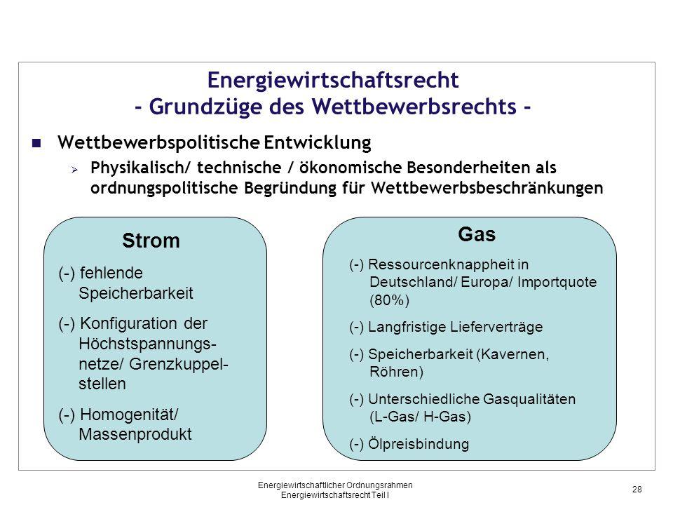 Energiewirtschaftlicher Ordnungsrahmen Energiewirtschaftsrecht Teil I Energiewirtschaftsrecht - Grundzüge des Wettbewerbsrechts - Wettbewerbspolitische Entwicklung  Physikalisch/ technische / ökonomische Besonderheiten als ordnungspolitische Begründung für Wettbewerbsbeschränkungen Strom (-) fehlende Speicherbarkeit (-) Konfiguration der Höchstspannungs- netze/ Grenzkuppel- stellen (-) Homogenität/ Massenprodukt Gas (-) Ressourcenknappheit in Deutschland/ Europa/ Importquote (80%) (-) Langfristige Lieferverträge (-) Speicherbarkeit (Kavernen, Röhren) (-) Unterschiedliche Gasqualitäten (L-Gas/ H-Gas) (-) Ölpreisbindung 28