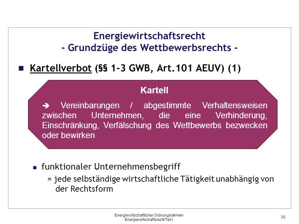 Energiewirtschaftlicher Ordnungsrahmen Energiewirtschaftsrecht Teil I Energiewirtschaftsrecht - Grundzüge des Wettbewerbsrechts - Kartellverbot (§§ 1-