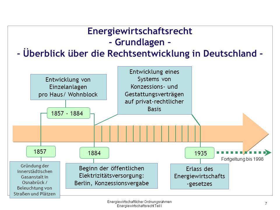 Energiewirtschaftlicher Ordnungsrahmen Energiewirtschaftsrecht Teil I Energiewirtschaftsrecht - Grundlagen – - Überblick über die Rechtsentwicklung in
