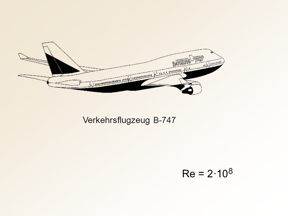 Verkehrsflugzeug B-747 Re = 2 ·10 8