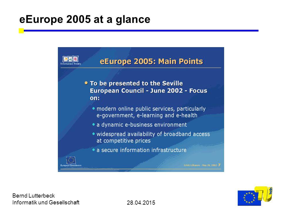 28.04.2015 Bernd Lutterbeck Informatik und Gesellschaft eEurope 2005 at a glance