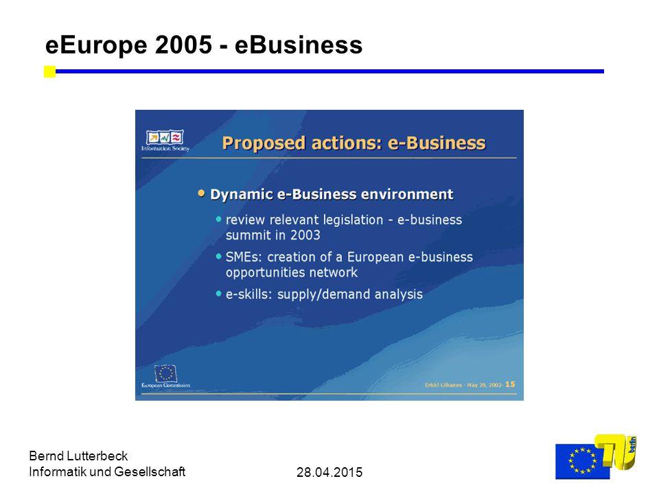 28.04.2015 Bernd Lutterbeck Informatik und Gesellschaft eEurope 2005 - eBusiness