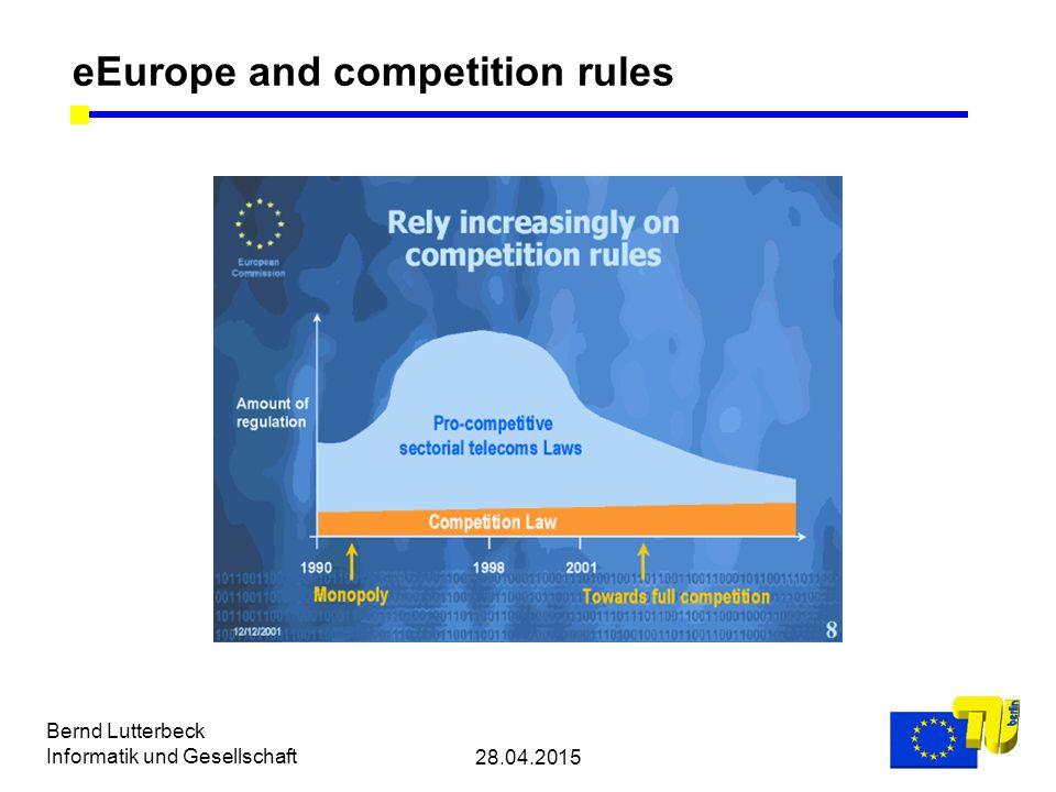 28.04.2015 Bernd Lutterbeck Informatik und Gesellschaft eEurope and competition rules
