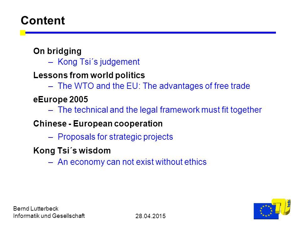 28.04.2015 Bernd Lutterbeck Informatik und Gesellschaft The basic model for e-commerce Slides 14-25, 36, 38-40 and 42-44 by courtesy of European Commission/Brussels