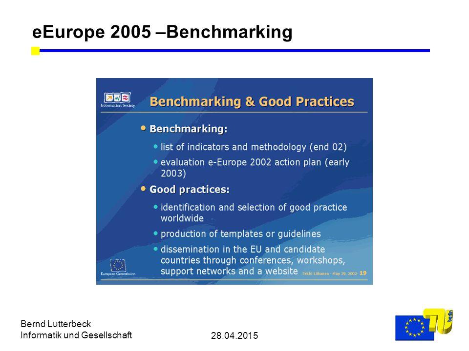 28.04.2015 Bernd Lutterbeck Informatik und Gesellschaft eEurope 2005 –Benchmarking