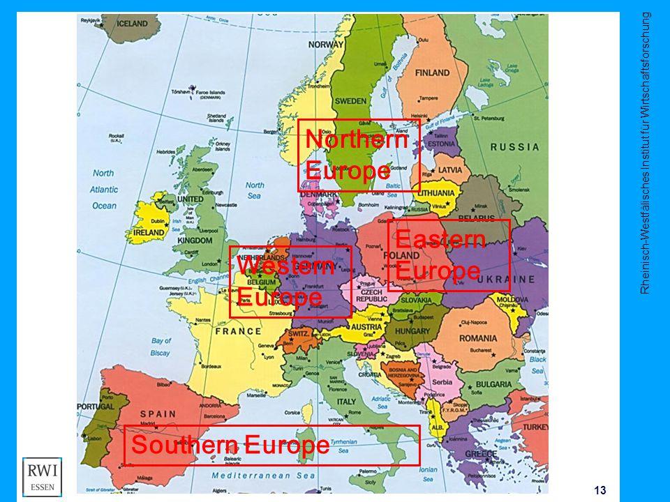 Rheinisch-Westfälisches Institut für Wirtschaftsforschung 13 J Kluve Northern Europe Western Europe Southern Europe Eastern Europe