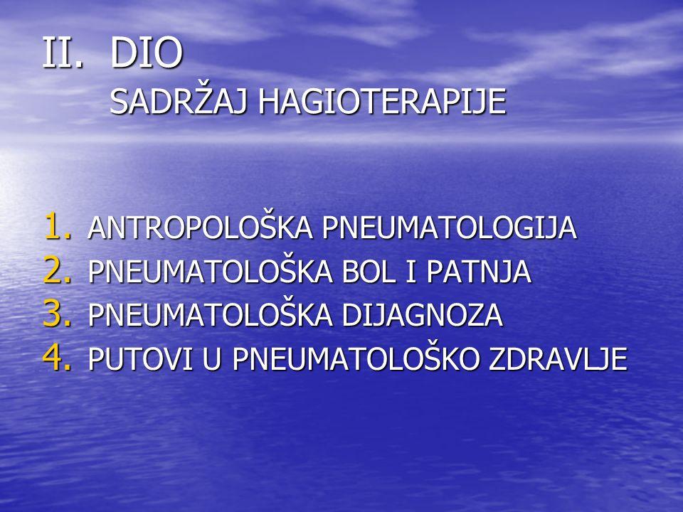 II.DIO SADRŽAJ HAGIOTERAPIJE 1. ANTROPOLOŠKA PNEUMATOLOGIJA 2. PNEUMATOLOŠKA BOL I PATNJA 3. PNEUMATOLOŠKA DIJAGNOZA 4. PUTOVI U PNEUMATOLOŠKO ZDRAVLJ