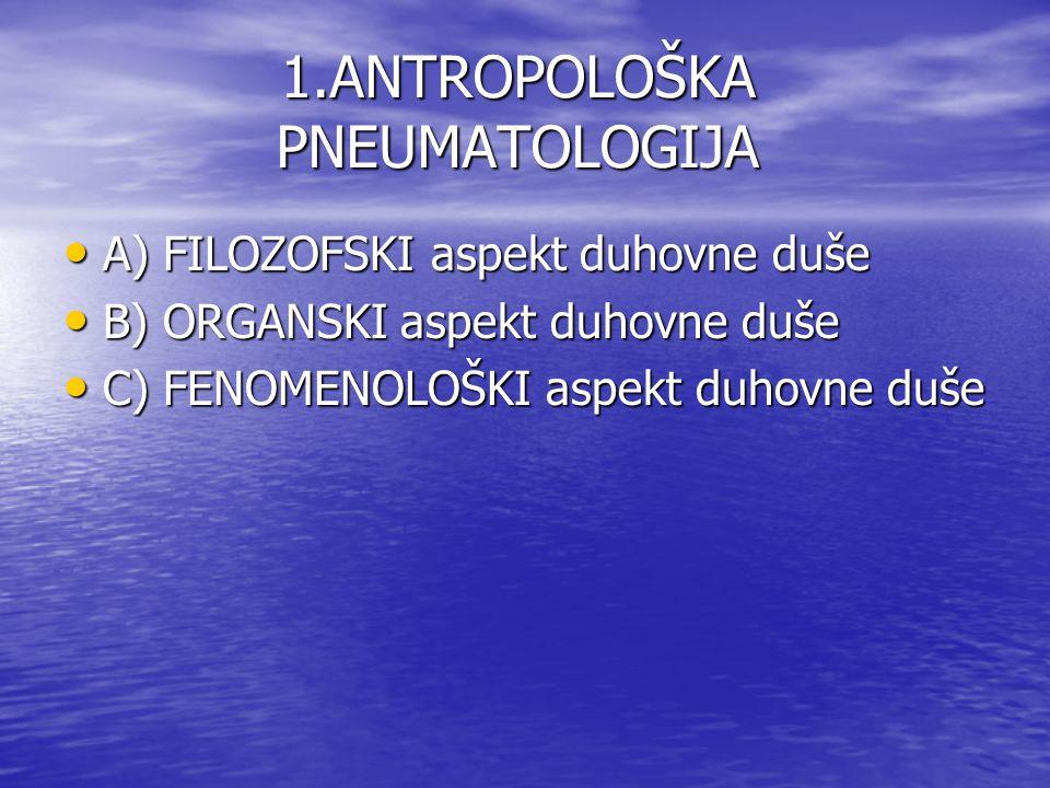 1.ANTROPOLOŠKA PNEUMATOLOGIJA A) FILOZOFSKI aspekt duhovne duše A) FILOZOFSKI aspekt duhovne duše B) ORGANSKI aspekt duhovne duše B) ORGANSKI aspekt d