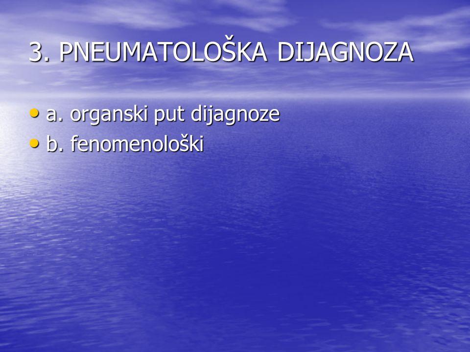 3. PNEUMATOLOŠKA DIJAGNOZA a. organski put dijagnoze a. organski put dijagnoze b. fenomenološki b. fenomenološki
