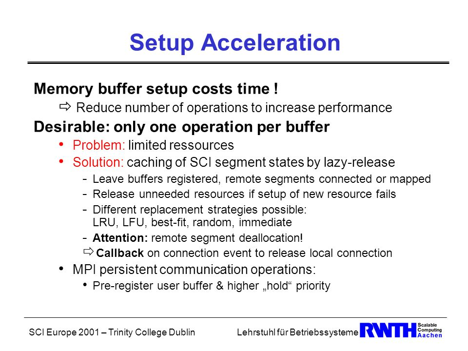 SCI Europe 2001 – Trinity College DublinLehrstuhl für Betriebssysteme Setup Acceleration Memory buffer setup costs time .
