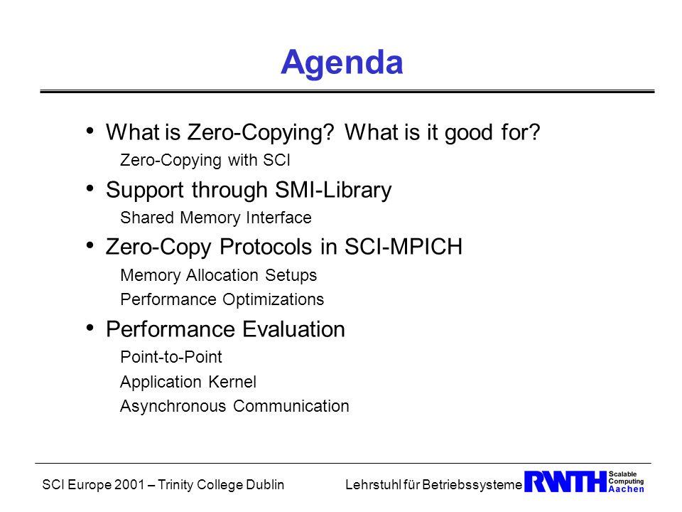 SCI Europe 2001 – Trinity College DublinLehrstuhl für Betriebssysteme Agenda What is Zero-Copying.