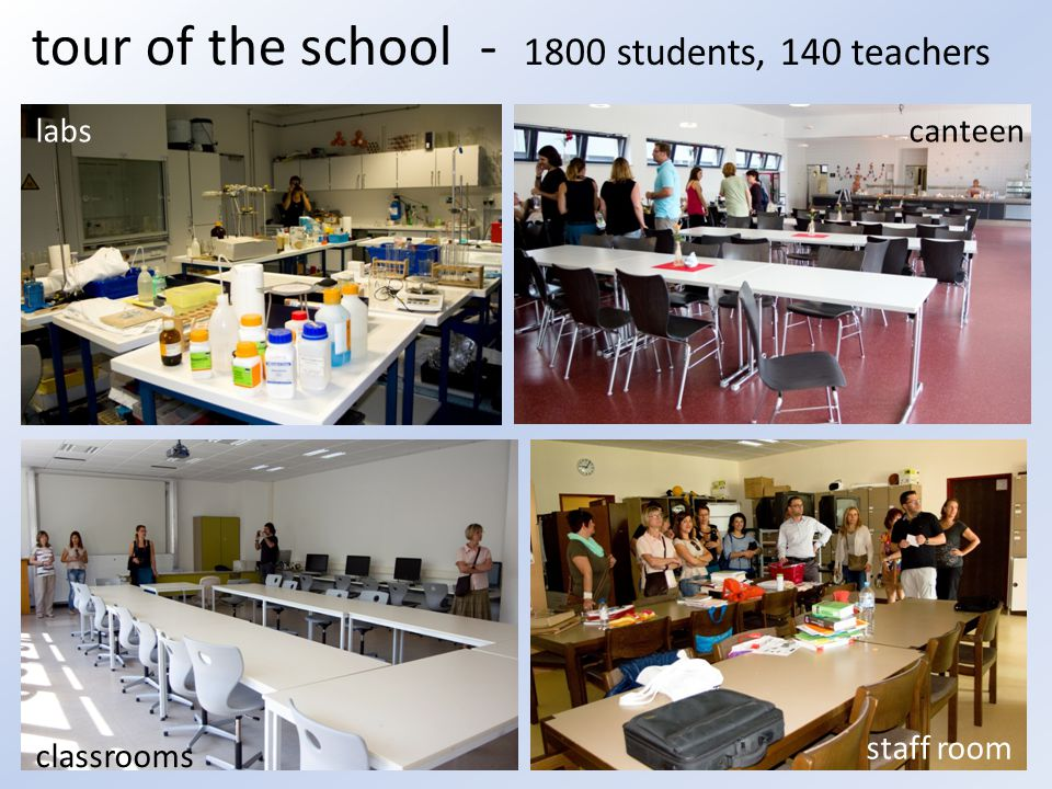 tour of the school - 1800 students, 140 teachers labs staff room classrooms canteen