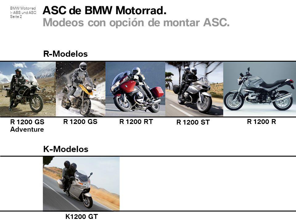 BMW Motorrad I- ABS und ASC Seite 2 ASC de BMW Motorrad. Modeos con opción de montar ASC. K1200 GT R-Modelos K-Modelos R 1200 RTR 1200 GS R 1200 GS Ad