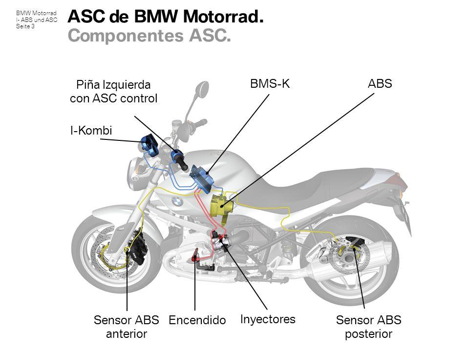 BMW Motorrad I- ABS und ASC Seite 3 ASC de BMW Motorrad. Componentes ASC. Sensor ABS posterior ABSBMS-K Inyectores Encendido I-Kombi Piña Izquierda co