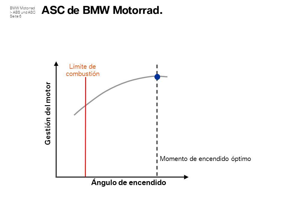 BMW Motorrad I- ABS und ASC Seite 6 ASC de BMW Motorrad. Gestión del motor Ángulo de encendido Límite de combustión Momento de encendido óptimo