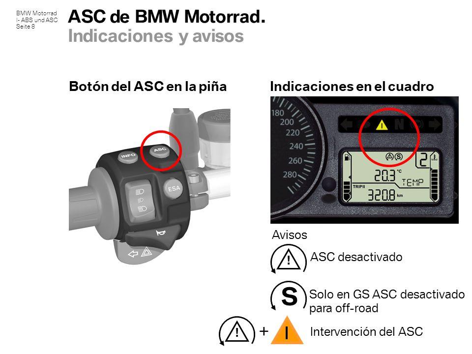 BMW Motorrad I- ABS und ASC Seite 8 ASC de BMW Motorrad. Indicaciones y avisos Avisos Botón del ASC en la piñaIndicaciones en el cuadro S ASC desactiv