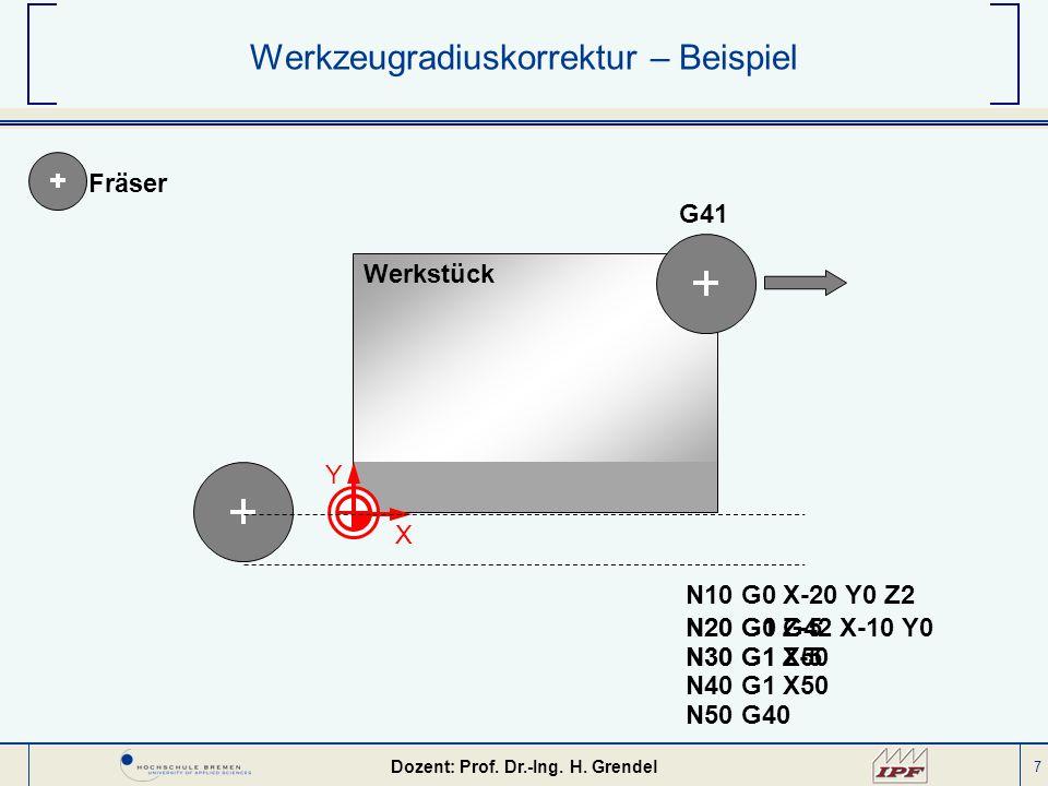 7 Werkzeugradiuskorrektur – Beispiel G41 Fräser Werkstück N10 G0 X-20 Y0 Z2 X Y N50 G40 N20 G1 Z-5 N30 G1 X50 N20 G0 G42 X-10 Y0 N30 G1 Z-5 N40 G1 X50
