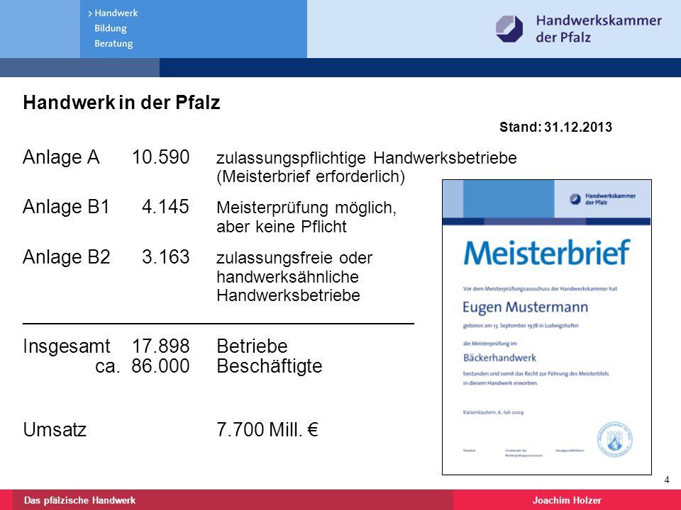 Joachim HolzerDas pfälzische Handwerk 4 Handwerk in der Pfalz Stand: 31.12.2013 Anlage A 10.590 zulassungspflichtige Handwerksbetriebe (Meisterbrief erforderlich) Anlage B1 4.145 Meisterprüfung möglich, aber keine Pflicht Anlage B2 3.163 zulassungsfreie oder handwerksähnliche Handwerksbetriebe _____________________________________ Insgesamt 17.898Betriebe ca.