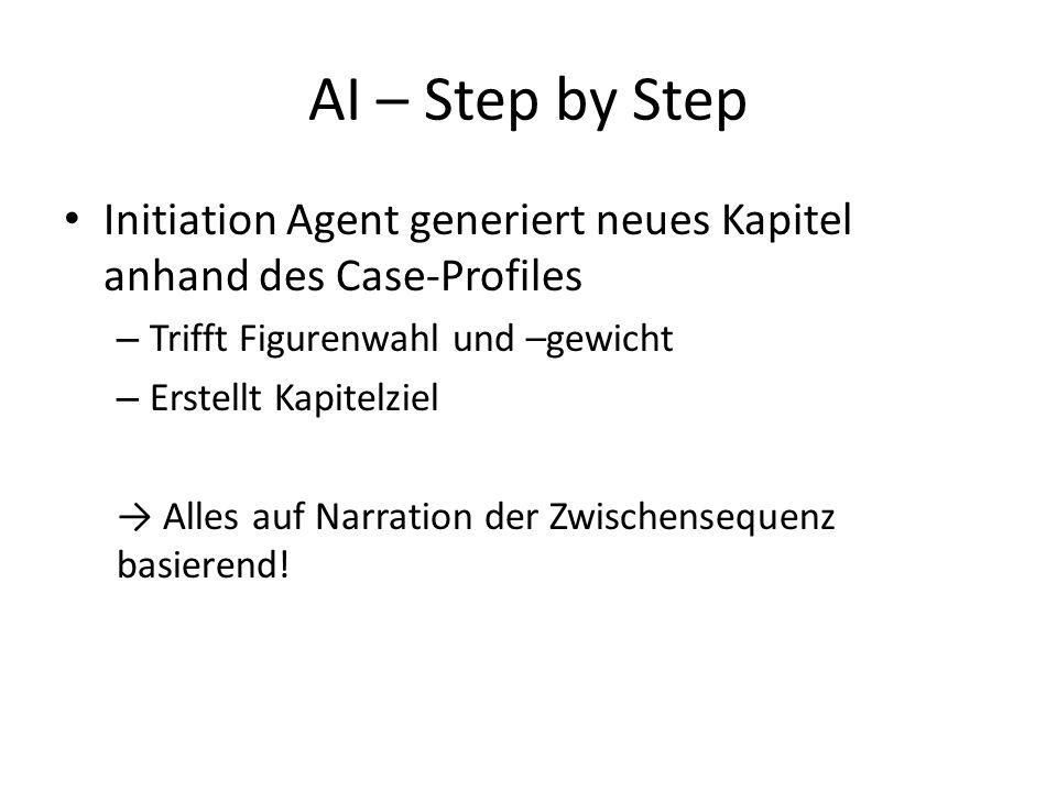 AI – Step by Step Initiation Agent generiert neues Kapitel anhand des Case-Profiles – Trifft Figurenwahl und –gewicht – Erstellt Kapitelziel → Alles auf Narration der Zwischensequenz basierend!