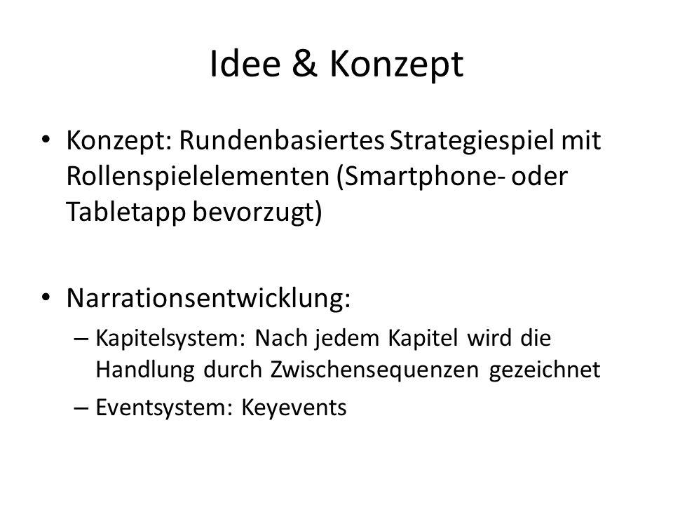 Idee & Konzept Konzept: Rundenbasiertes Strategiespiel mit Rollenspielelementen (Smartphone- oder Tabletapp bevorzugt) Narrationsentwicklung: – Kapite