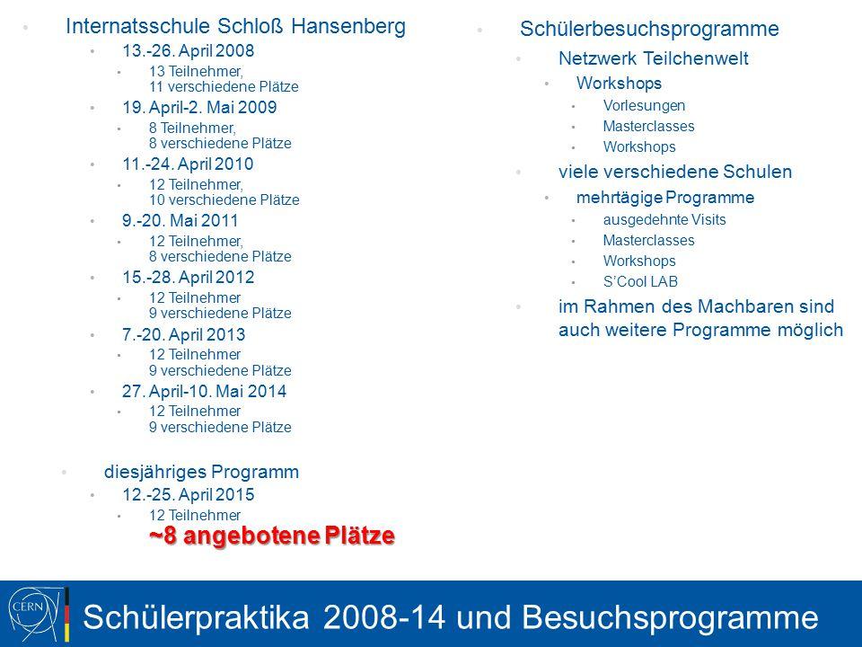 Schülerpraktika 2008-14 und Besuchsprogramme Internatsschule Schloß Hansenberg 13.-26.
